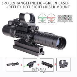 3-9X32 EG Illuminated Rifle Scope HD119 Red & Green Dot Reflex Green Laser Sight