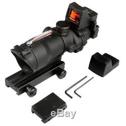 4X32 ACOG Real Red Fiber Scope withRMR Red Dot sight for Hunting Airsoft Rifle