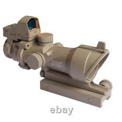 ACOG Style Airsoft 4X32 Rifle Scope+ Red Dot Reflex Sight/ Fits 20mm Rail Desert