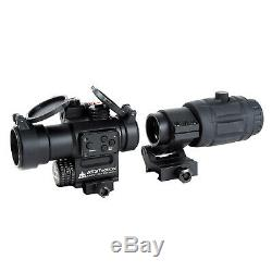 AT3 Magnified Red Dot with Laser Sight Kit Red Dot + Laser with 3X Magnifier