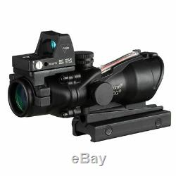 Acog 4x32 Red Fiber Source Real Fiber Scope with RMR Micro Red Dot Sight Black