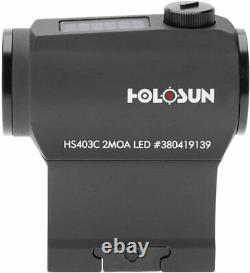 HOLOSUN HS403C Solar Power Micro 2 MOA Red Dot Sight + CR2032 Batteries