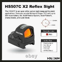 HOLOSUN HS507C-X2 Classic Multi Reticle Red Dot Sight, Black