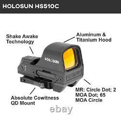 HOLOSUN HS510c 2 MOA Open Reflex Circle Dot Solar Power Red Sight with Cloth