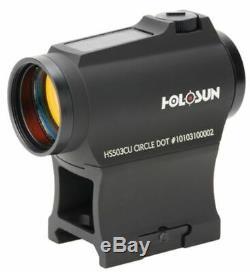 Holosun Circle Micro Red Dot Sight, 2 MOA Dot, 65 MOA Circle, Black HS503CU