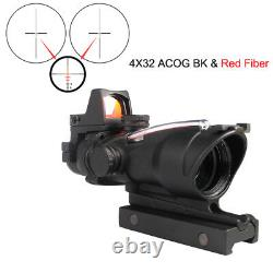 Hunting Rifle Scope Sight Green Red Fiber ACOG 4X32 with RMR Red Dot Sight