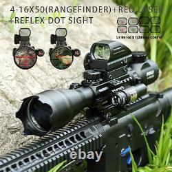 Pinty 3 in 1 4-16x50 Rangefinder Rifle Scope Red laser & Reflex Dot Sight scope