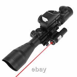 Pinty 4-12X50EG Rangefinder Reticle Riflescope Red Laser&Reflex Dot Sight Scope