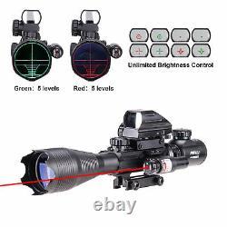 Pinty 4-16x50 Illuminated Range Finder 4 Reticle Dot Sight Red laser Rifle Scope