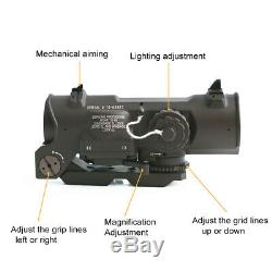 Tactical Rifle Scope 1x-4x Fixed Dual Purpose Red illuminated Red Dot Sight